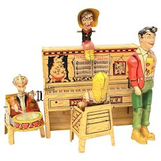 Dogpatch Band Tin Litho Wind Up Toy, Al Capp Li'l Abner Comic Strip Characters 1948 Unique Art Manufacturing