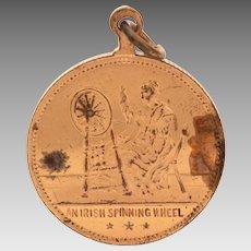Antique Irish Spinning Wheel Bronze Medal Dublin Ireland Bracelet Charm or Necklace Pendant, Travel Souvenir