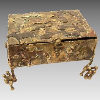 Pal Kepenyes Signed Brass Milagros Box, Mid Century Brutalist Brass Sculpture