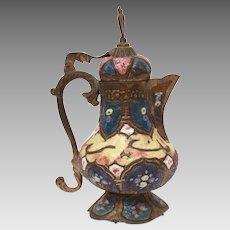 Antique Damascus Enamel Teapot, Middle East Persian, Islamic Crescent Moon & Star