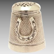 Sterling Thimble with Raised Lucky Horseshoe, Good Luck Symbol