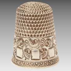 Ornate Antique Sterling Thimble Heavily Engraved Stern Bros, Size 7