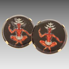 Massive Reverse Painted Glass Cufflinks with Thai Dancers