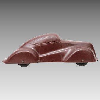 """1940s Dark Maroon Bakelite Toy Fastback Car, 6 1/4"""""""