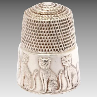 Sterling Cat Thimble, Kitty Ball of String by Carol Winandy for Simons