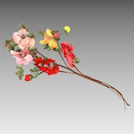 Millinery Flower Bouquet in Red, Pink, and Yellow