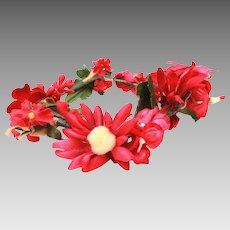 "Millinery Flowers, 11"" Row of Bright Pink Red Blossoms with Cotton Centers"