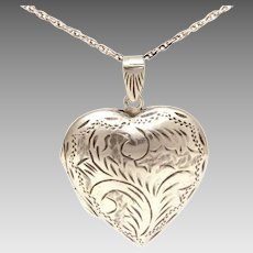 "Sterling Puffy Heart Locket on 25"" Sterling Chain Necklace, Hand Engraved"