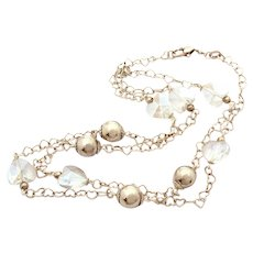 """Sterling Heart Link Chain with AB Crystal Heart Beads, 29"""" Long"""