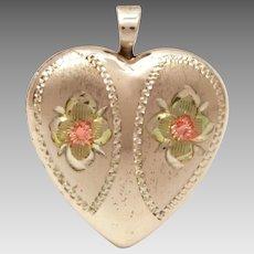 "Sterling Heart Locket Pendant, Photo Locket Charm, Doll Size .75"""