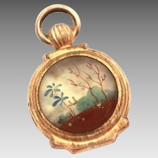 Miniature Pocket Watch, Antique Double Sided Fob, Hand Painted, Doll Accessory