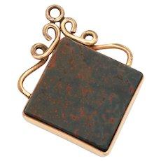 Antique Victorian Bloodstone Pocket Watch Fob in Stone Slab in Diamond Shape