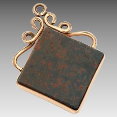 Antique Victorian Bloodstone Pocket Watch Fob in Stone Slab in Diamond Shape