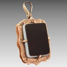 Antique 10k Gold Watch Fob Locket with Sardonyx & Carnelian