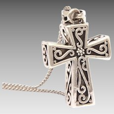 "Boxy Sterling Cross Locket, 18"" Sterling Chain Necklace"