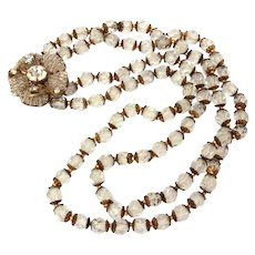 Signed Miriam Haskell Crystal Bead Necklace with Seed Bead Flower Box Clasp