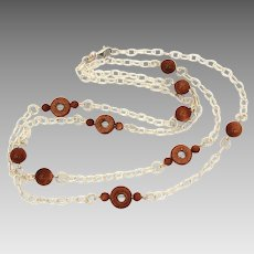 Goldstone Glass Beads on Sterling Chain Necklace, 31.5""