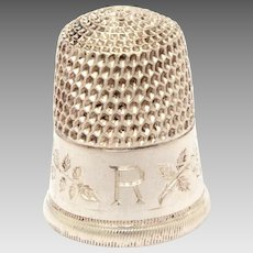 Sterling Wild Rose Thimble Simons Brothers, Engraved Initial R