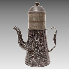 Antique Graniteware Coffee Pot Biggin, Speckled Blue Enamel Granite Ware