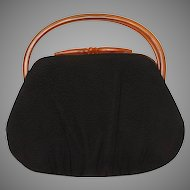 Crown Lewis Handbag with Brown Lucite Handles, Textured Woven Fabric Purse
