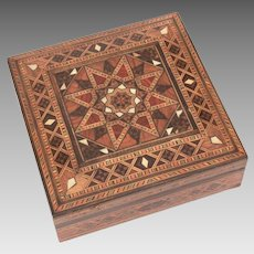 Persian Mosaic Wood & Mother of Pearl Inlay Box, Middle Eastern Geometric Design