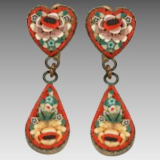 Italian Mosaic Screw Back Earrings with Hearts & Dangle Tear Drops