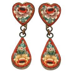 Italian Mosaic Screw Back Earrings with Hearts & Dangle Tear Drops