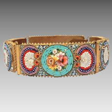 Italian Micro Mosaic Bracelet, Floral & Neoclassical Shell Design