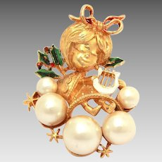 1970s Corel Christmas Angel Pin, Faux Pearl Clouds, Enamel Holly Leaves, Coro Brooch