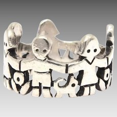 James Avery Paper Doll Ring, Children Cats Dogs, Sterling Paperdoll Band Ring Size 5