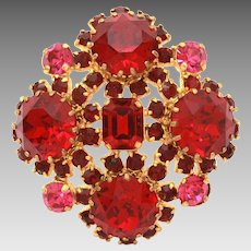 Austrian Crystal Pin, Hot Pink & Red Prong Set Rhinestone Brooch, Made in Austria