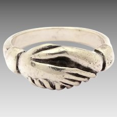 James Avery Sterling Friendship Ring - Clasped Hands, Hand Shake - Size 5 - Vintage Texas Designer Jewelry