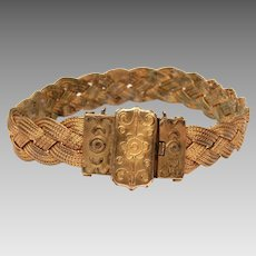 Victorian Etruscan Gold Filled Bracelet, Antique Woven & Braided GF Wire, Much Wear