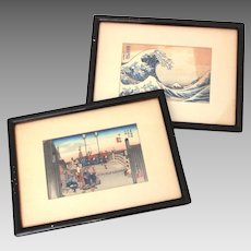 Antique Japanese Prints, Nihon Bridge by Hiroshige, Great Wave by Hokusai, Small Framed, Yokohama Japan, Minato Trading Co