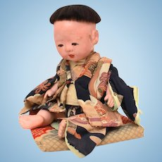 Japanese Ichimatsu Baby Doll in Kimono on Pillow, Gofun Composition, Glass Eyes, Jointed Neck Shoulders Hips