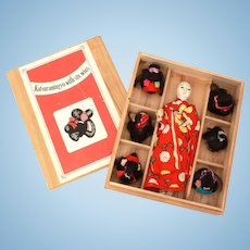 Japanese Katsuraningyo Doll with 6 Wigs, Gofun Composition with Glass Eyes, Human hair, in Original Box