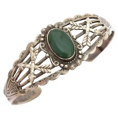 Native American Sterling Cuff Bracelet with Indian Arrows Thunderbirds Peyote Birds, Navajo Green Turquoise