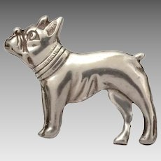 Sterling Boston Terrier Pin with C-Clasp, Cartoon Dog Brooch
