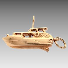 14k Gold Yacht Charm, Mechanical, Opens to Reveal Captain at Boat Wheel