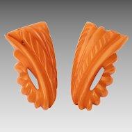 Carved Butterscotch Bakelite Dress Clips