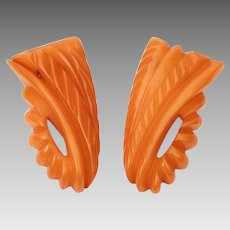 Carved Butterscotch Bakelite Dress Clips