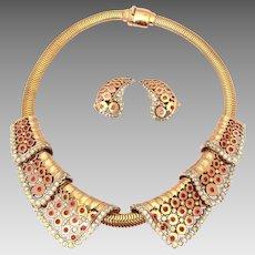 Marcel Boucher MB Phrygian Cap, Collar Necklace & Earrings, Pink Ruby Rhinestones & Pierced Details
