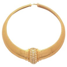 Christian Dior Chunky Collar Necklace with Rhinestone Centerpiece