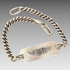 WWII Sterling USAAF ID Bracelet, Air Force Pilot Wings, Signed LGB, Military Sweetheart