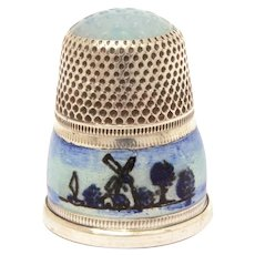 Sterling Guilloche Enamel Thimble, Dutch Windmill Scene, Opaline Glass Top, Size 5