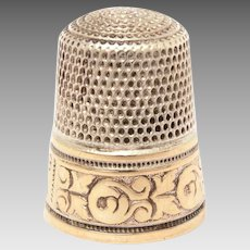 Sterling Simons Thimble Gold Plated Band of Stylized Tulips, Engraved Gothic Initial M, Size 9