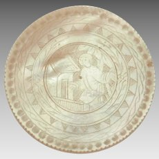 Antique Chinese Game Token, Carved Mother of Pearl Gaming Chip with Engraved Chinese Man in Garden