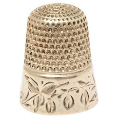 Simons Bros. Engraved Sterling Sewing Thimble with Bleeding Heart Flowers or Lily of the Valley Blossoms