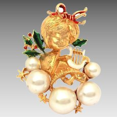 1970s Corel Christmas Angel Pin, Faux Pearl Clouds, Enamel Holly Leaves, Coro Brooch