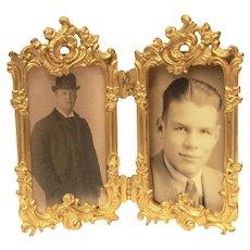 Small Vintage Folding Picture Frame, Ornate Design